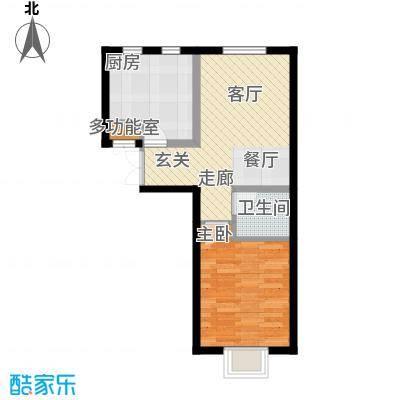 书香名邸四期4号楼2单元一室二厅一卫户型