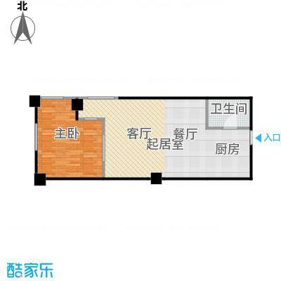 浪琴湾70.23㎡一室一厅一卫户型
