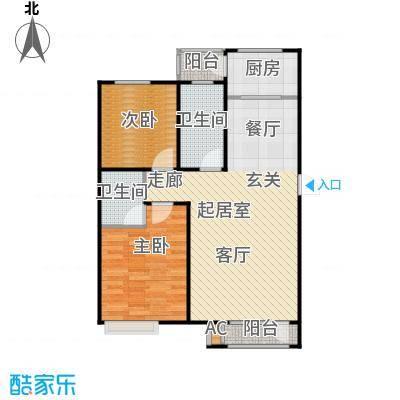 浪琴湾93.00㎡二室二厅一卫户型