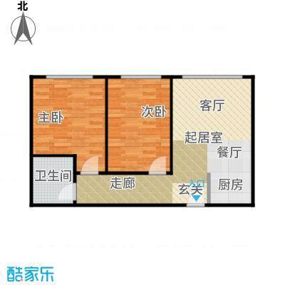 漓江明珠62.00㎡D户型:2房2厅1卫双阳台户型