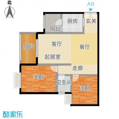 如意汇景1&4号楼A5单卫户型2室1卫1厨