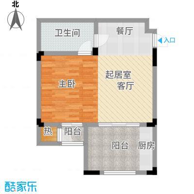 隆鑫花漾的山谷三期55.00㎡F2户型 建筑面积55㎡ 一室一厅一卫户型1室1厅1卫