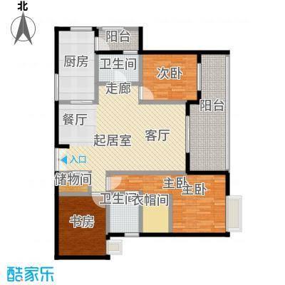 如意汇景1&4号楼A2双卫带书房户型3室2卫1厨