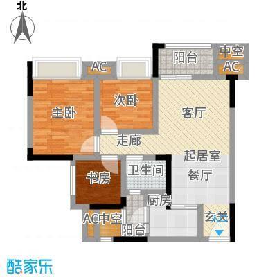 鸥鹏中央公园79.58㎡鸥鹏中央公园 B1户型3室2厅1卫