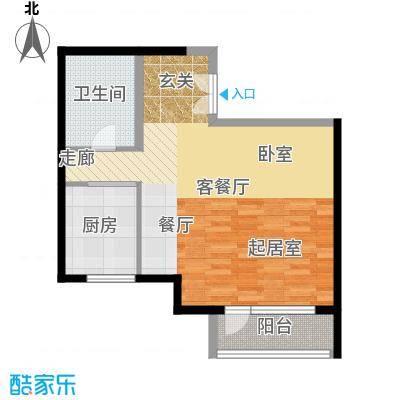 北京华侨城80.00㎡A1-1号楼D1反户型1厅1卫1厨