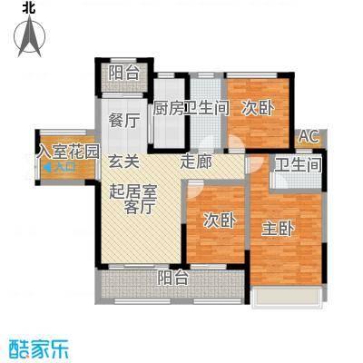 嘉福尚江尊品户型3室2卫1厨