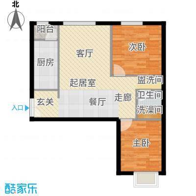北京华贸城84.50㎡25号楼3-01户型2室1卫1厨