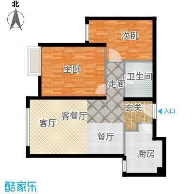 红山世家89.00㎡B户型2室1厅1卫