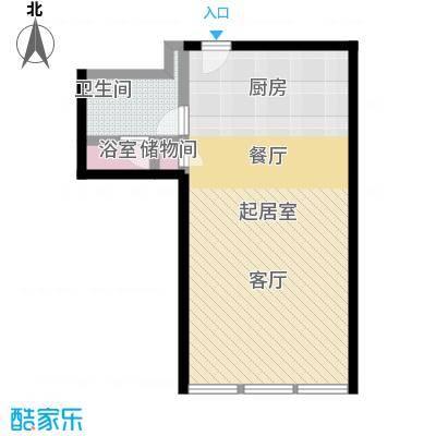 德胜凯旋公寓77.39㎡一室一卫户型