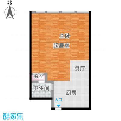 德胜凯旋公寓83.40㎡一室一卫户型