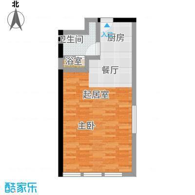 德胜凯旋公寓66.45㎡一室一卫户型