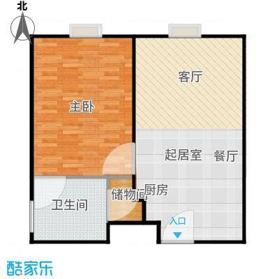 新年华SOHO66.74㎡C3户型一室一厅一卫户型