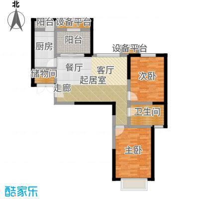 蓝光星华・海悦城85.00㎡D户型三室两厅一卫户型3室2厅1卫