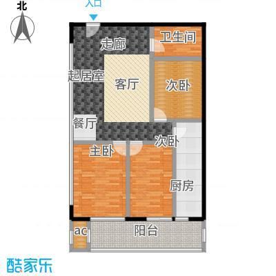 天龙华鹤(天下儒寓)104.44㎡1单元10#房间三室一厅一卫户型