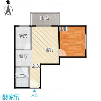 兴业苑B6户型 54.56平米 1室2厅1卫户型