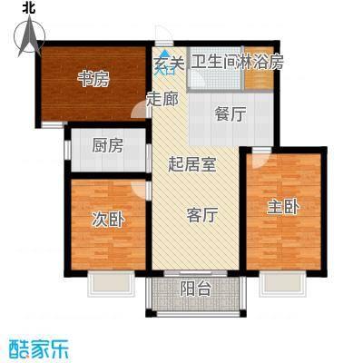 卓冠美景城108.14㎡3#楼B户型108.14平米户型3室2厅1卫