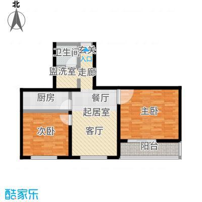 晋元庄小区74.00㎡二室一厅一卫户型