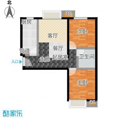 东亚・瑞晶苑78.00㎡D户型两室两厅一卫户型