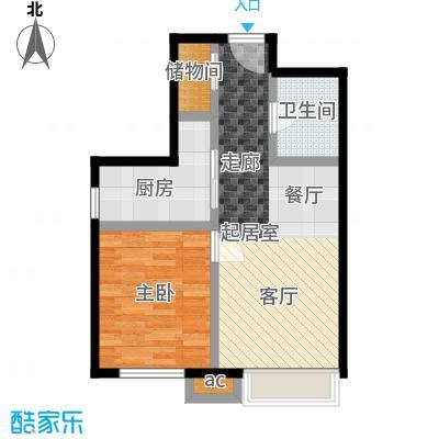 东亚・瑞晶苑61.00㎡B户型一室两厅一卫户型