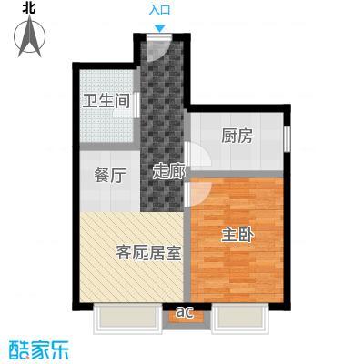 东亚・瑞晶苑60.00㎡F户型一室两厅一卫户型