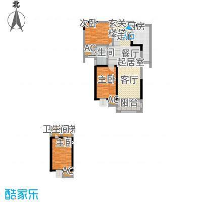 翡翠湾106.00㎡两房:107平米户型-T