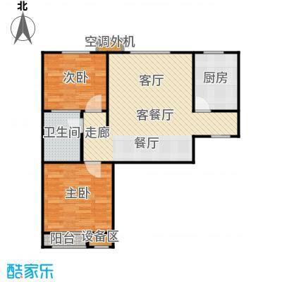 京汉铂寓(门头沟)86.68㎡1-A/2-A/3-A户型 二室二厅一卫户型2室2厅1卫