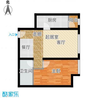 华业东方玫瑰67.00㎡c10户型1室1卫1厨