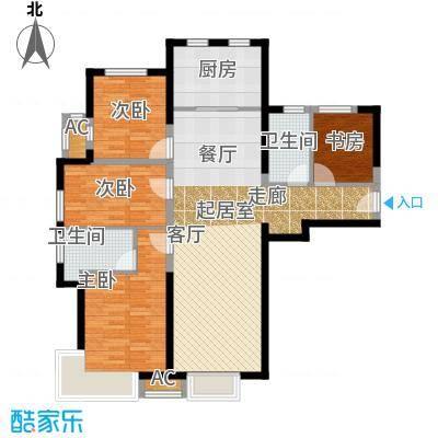 泰禾・拾景园A户型 三室两厅两卫户型3室2厅2卫
