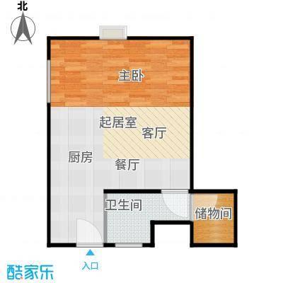 新年华SOHO46.07㎡B1户型一室一厅一卫户型