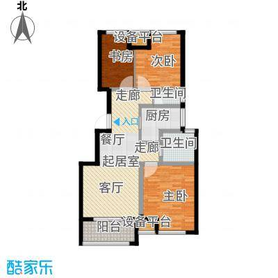 御景湾88.00㎡三房二厅一卫-88平方米-88套。户型