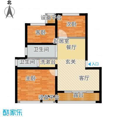 御景湾86.00㎡三房二厅一卫-86平方米-12套。户型