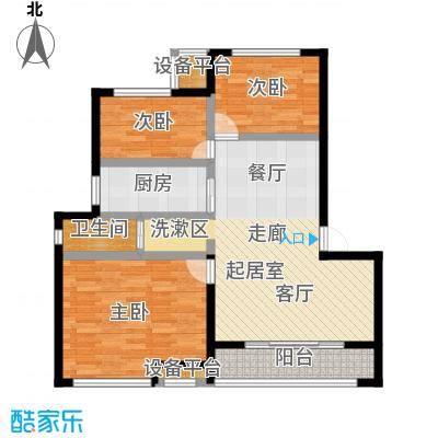 御景湾86.00㎡三房二厅一卫-86平方米-6套户型