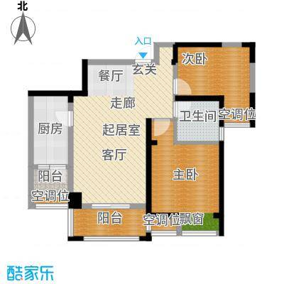 世茂香槟湖85.00㎡30#、31#、35#L户型两房两厅一卫户型2室2厅1卫