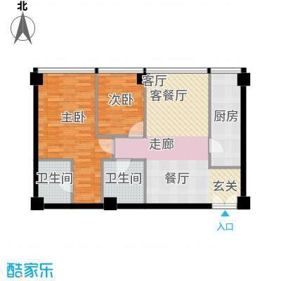 鹭�国际74.59㎡户型2室1厅2卫1厨