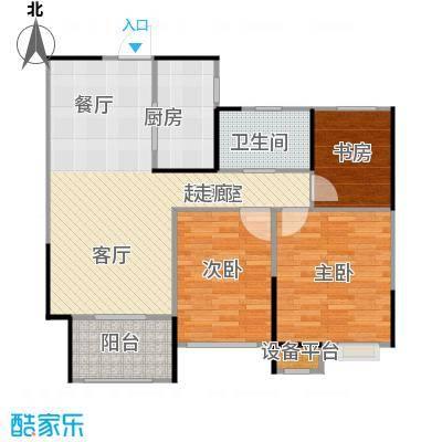 天润国际花园89.00㎡5号楼E户型三房二厅一卫89平米户型3室2厅1卫