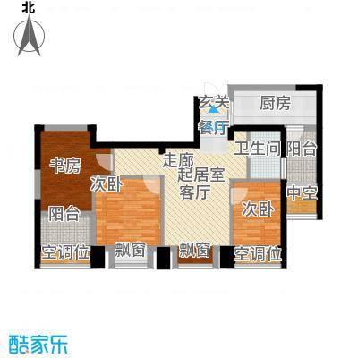 世茂香槟湖85.00㎡30#、31#、35#I户型三房两厅一卫户型3室2厅1卫