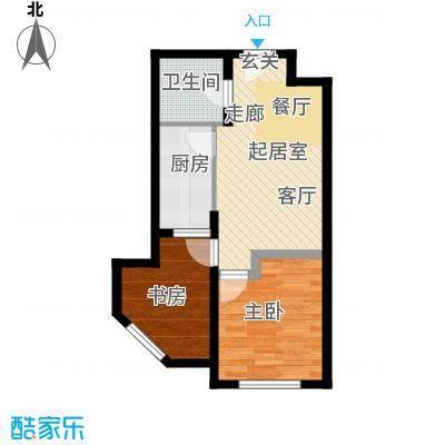 珠光逸景家园(限价房)56.00㎡F/F\'户型1室2厅1卫