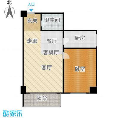 逸品尚枫公寓85.91㎡一室一厅一卫户型
