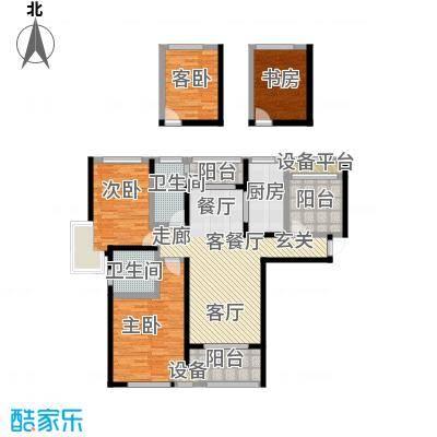 绿地外滩1号129.00㎡香樟花园A户型两房两厅两卫户型3室2厅2卫