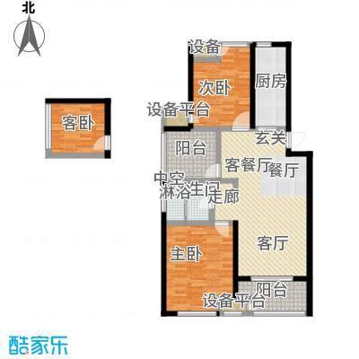 绿地外滩1号105.43㎡1#、2#、4#E-1两房两厅一卫户型2室2厅3卫