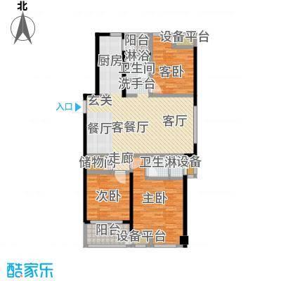 绿地外滩1号126.42㎡1#、2#、4#E-3户型3室2厅2卫