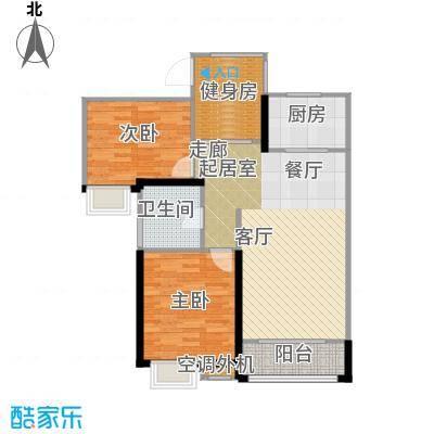 弘建一品87.00㎡二期10号楼B户型 2室2厅1卫户型2室2厅1卫