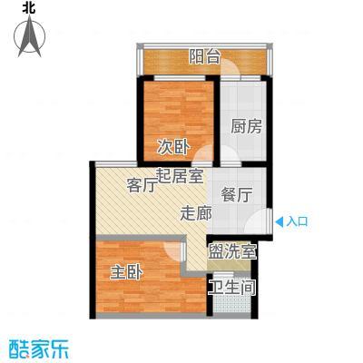 晋元庄小区68.00㎡二室一厅一卫户型