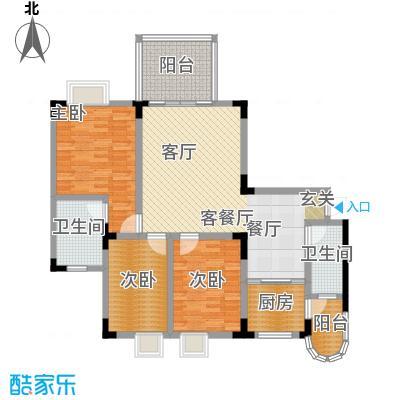 假日滨江花园(二期)114.17㎡房型: 三房; 面积段: 114.17 -152.64 平方米;户型