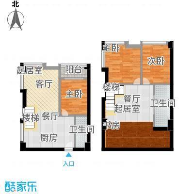 香城壹号80.24㎡C4户型 三室两厅两卫户型3室2厅2卫