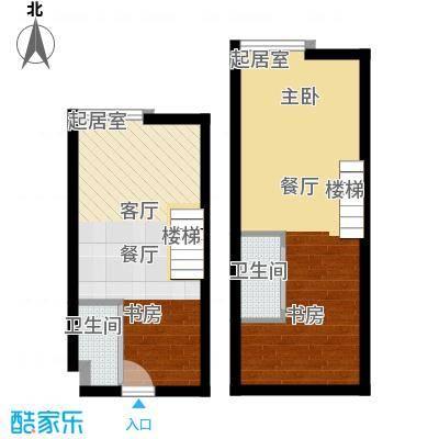 香城壹号48.34㎡C2户型 两室两厅两位户型2室2厅2卫