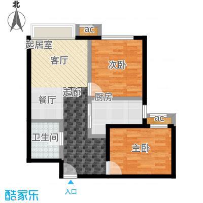 东亚・瑞晶苑75.00㎡C户型两室两厅一卫户型