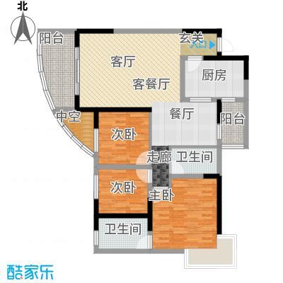 朵力名都(三期)83.57㎡房型:三房;面积段:83.57-104.4平方米;户型10室