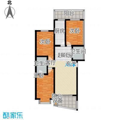 观山小筑(燕水佳园)128.83㎡B户型三室二厅二卫户型
