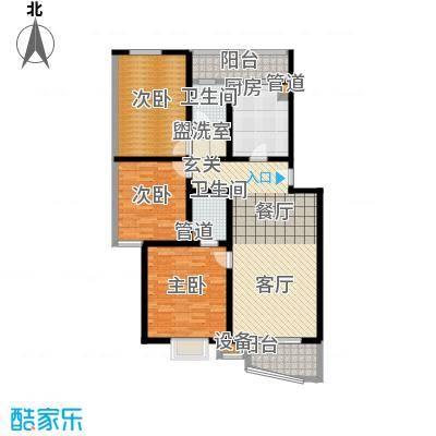 观山小筑(燕水佳园)125.65㎡F户型三室二厅二卫户型